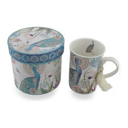 Zeckos - Peacock Flower Garden Tea/Coffee Mug with Bejeweled Gift/Storage Box - Have your cake, and it with tea with this pretty peacock coffee/tea mug gift set featuring a Victorian design of pretty peacocks and English garden flowers Made from ceramic, the mug features a white tassel dangling from the handle, and includes a complementing decorative paperboard gift/storage box with sparkling faceted jewel accents. You can store it in the box when not in use, or use it as a display piece in your curio cabinet The mug measures 4.25 inches (11 cm) tall, 3 inches (8 cm) diameter while the decorative box is 4.5 inches (11 cm) high and 4.5 inches (11 cm) in diameter. It makes an amazing gift for both the young, and the young at heart sure to be loved.