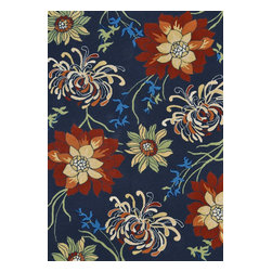 """Loloi Rugs - Loloi Rugs Sunshine Collection - Black, 3'-6"""" x 5'-6"""" - The aptly named Sunshine Collection from China transforms familiar floral designs into true designer looks that will brighten a pool, patio, or living room. With vivid punches of color and bold, overscaled florals, rugs in the Sunshine Collection quite literally will offer an extreme makeover for the indoor/outdoor category. Not just a color story, Sunshine's beautifully hand-hooked polypropylene texture adds powerful dimension to these spirited and infinitely stylish rugs."""