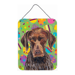 Caroline's Treasures - German Shorthaired Pointer Easter Eggtravaganza Aluminium Metal Wall Or Door Han - Great for inside or outside these Aluminum prints will add a special touch to your kitchen, bath, front door, outdoor patio or any special place.  12 inches by 16 inches and full of color.  This item will take direct sun for a while before it starts to fade.  Rust and Fade resistant.  Aluminum Print with Hanging Rope.  Rounded Corners.