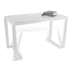 Kathy Kuo Home - Ava Hollywood Regency Modern Acrylic Desk - If you're looking for a light, airy desk with plenty of space to work, the answer is clear.  Crafted from acrylic and glass, this delightfully modern desk is a great addition to a gorgeous workspace or vanity area.