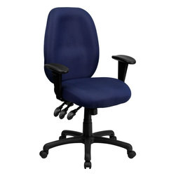 Flash Furniture - High Back Navy Fabric Multi-Functional Ergonomic Task Chair with Arms - Get great comfort in this Multi-Functional Ergonomic Task Chair that features several adjustments to meet your seating needs. This chair features a comfortably padded seat and back with built-in lumbar support for long hour work days. The triple paddle control lets you adjust the pneumatic seat height, locking seat tilt and locking back tilt all at your fingertips.