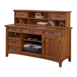 Signature Design by Ashley - Cross Island Large Credenza Short Desk Hutch in Medium Brown Oak Stain - The richly detailed mission design of the Cross Island home office collection captures the beauty of rich country style with a versatility that enhances any home environment. The medium brown oak stained finish is beautifully accented by the mortise through ornamentation to create the rustic beauty of finely crafted mission styled furniture. With ample writing area and plenty of storage space, this desk offers a versatility that greatly enhances any homes decor. Accent your homes beauty with the rustic style of the Cross Island home office collection.