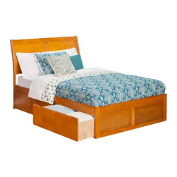 Atlantic Furniture - Atlantic Furniture Portland Bed with Drawers in Caramel Latte-Queen Size - Atlantic Furniture - Beds - AR8942117