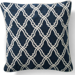 Grandin Road - Fretwork Dori Throw Pillow - Each cover is made from finely ribbed, 100% cotton. Embellished with white corded trim. Hidden zipper for easy removal. Polyfill insert included. Spot clean. Reawaken your seating for a new season with crisp navy and soft white crewelwork with our Dori Throw Pillows. . . . . .