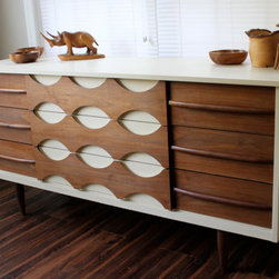 Midcentury Modern Dresser by Revitalized Artistry - What a beautiful piece! The wood detailing on the front makes this a statement piece for a dining room or bedroom.