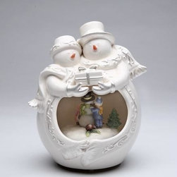 ATD - 7 Inch White Snowman and Snowwoman Couple Holding Gift Musical Display - This gorgeous 7 Inch White Snowman and Snowwoman Couple Holding Gift Musical Display has the finest details and highest quality you will find anywhere! 7 Inch White Snowman and Snowwoman Couple Holding Gift Musical Display is truly remarkable.