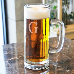 None - Personalized Frankfurt Tallboy Beer Mug - With these glass engraved beer mugs,you'll have a drink container you can call your own and be proud to raise a toast. The weighted bottom makes it harder for the stein to tip over,and the beveled glass design helps the stein to stand out.