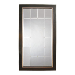 Bassett Mirror - Beveled Full-Length Floor Mirror in Black w B - Rectangle shape. Frame is accented with Silver beads. Decorative mirror. 46 in. L x 82 in. H (65 lbs.)