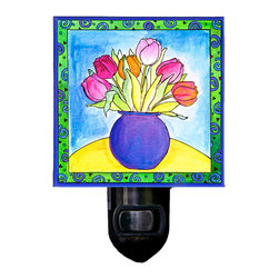 Tulips Night Light - Our Tulips Night Light will add warmth to any room at night.  It is made of a print of original painting which is sandwiched in between two layers of durable acrylic. The light is UL approved and comes with a standard four watt night light bulb. Gift box included. Made in the USA