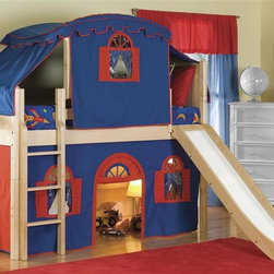 Bolton Furniture - Cottage Low Twin Loft Bed w Top Tent, Slide & Bottom Blue-Red Curtain - Includes twin headboard & footboard, birch side rail set, low loft kit, Blue & Red bottom curtains in front and two ends, top on Blue with Red trim, top frame and slide. Dresser not included. Beds come complete with slat roll (no additional support necessary). Solid frame construction built to last. Bed assembly features barrel nut & bolt (metal to metal connections). Made of solid wood & veneers. Twin size bed. Natural finish. Assembly required. 1-Year warranty. 98 in. W x 65 in. D x 65 in. H. Low Loft Assembly Instructions. Curtains Assembly Instructions. Slide Assembly Instructions. Top Tent Assembly Instructions. Bunk Bed Warning. Please read before purchase.. NOTE: ivgStores DOES NOT offer assembly on loft beds or bunk beds.