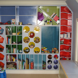 """Tudor in Hillsborough, CA - The """"Counting Cubbies"""".  A wall-to-wall, floor-to-ceiling shelving system called """"Counting Cubbies"""".  Spaces are divided by shape, color and counting from 1 to 10.  Have fun fining each group from 1-10 and the corresponding shapes."""