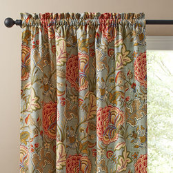 Maddy Sky Curtain Panel - I love the pretty florals against the sky blue background in these drapes.