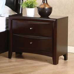 Coaster - Phoenix Night Stand - The Phoenix Collection is crafted from solid hardwood with Maple veneers. It is finished in rich deep cappuccino. All drawers have beveled wood fronts and are accented with brushed nickle hardware.