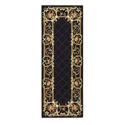Safavieh - Hand-hooked Trellis Black Wool Rug (3' x 12') - A stunning golden trellis design dotted with delicate red flowers borders this handhooked black wool rug. A thick 100 percent pure virgin wool pile with cotton backing will give you warmth and add a luxurious feel to any room in your home.