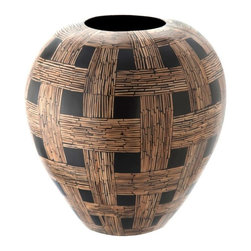 Kouboo - Coconut Chequered Vase - This striking coconut checkered vase is delicately handcrafted from coconut midribs. Designed to hold water for fresh-cut flowers, this vase has a knack for displaying tropical flowers beautifully.1 year limited warrantyDelicately hand-crafted using Coconut midribsHolds water for fresh cut flowersClean with dry, soft cloth Weighs 4 lbs