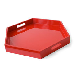 Lacquer Hexagon Tray, Red - I love this bold high-gloss tray. It would work well as a centerpiece for so many occasions.