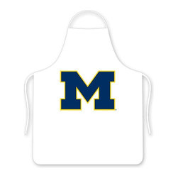Sports Coverage - Michigan Wolverines Tailgate Apron - Collegiate Michigan University Wolverines White screen printed logo apron. Apron is 100% cotton twill with screenprinted logo. One Size fits all.