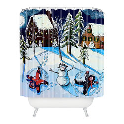 DENY Designs - DENY Designs Renie Britenbucher Snow Angels Shower Curtain - Who says bathrooms can't be fun? To get the most bang for your buck, start with an artistic, inventive shower curtain. We've got endless options that will really make your bathroom pop. Heck, your guests may start spending a little extra time in there because of it!