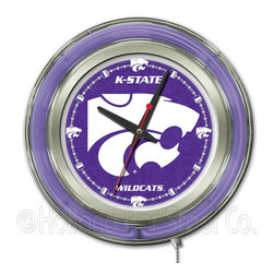 Holland Bar Stool - Holland Bar Stool Clk15KnsasS Kansas State Neon Clock - Clk15KnsasS Kansas State Neon Clock belongs to College Collection by Holland Bar Stool Our neon-accented Logo Clocks are the perfect way to show your school pride. Chrome casing and a team specific neon ring accent a custom printed clock face, lit up by an brilliant white, inner neon ring. Neon ring is easily turned on and off with a pull chain on the bottom of the clock, saving you the hassle of plugging it in and unplugging it. Accurate quartz movement is powered by a single, AA battery (not included). Whether purchasing as a gift for a recent grad, sports superfan, or for yourself, you can take satisfaction knowing you're buying a clock that is proudly made by the Holland Bar Stool Company, Holland, MI. Clock (1)