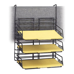 Safco - Safco Panel Mate Triple Tray (Set of 6) - Safco - Desk Organizers - 4150CH - This wall hanger workstation file tray is designed to accommodate letter size file folders, the strong welded steel construction in a continuous loop design with epoxy finish holds the weeks biggest projects! Universal mounting system included. Packed 6 per carton.