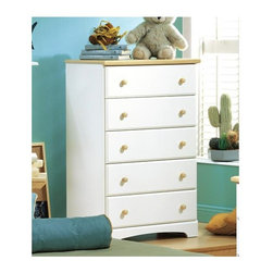 "South Shore - Newbury Pure White 5 Drawer Chest - A chest with five expansive drawers suitable for personal items, accessories or clothing, with a white body and natural wood accents.  Durable, sturdy, and handsome, this dresser works well with current bedroom décor.  Use in a hallway to store household items, or place in an alcove for innovative storage.  Beautiful and charming.  Whisper quiet Sintec drawer glides offer smooth and silent operation making this dresser chest perfect for nurseries and small children's rooms, but stylish enough the furniture can grow with them for years of use. * Manufactured from eco-friendly, EPP-compliant laminated particle boardcarrying the Forest Stewardship Council (FSC) certification. 5 drawer chest unit. Sintec drawer glides (gliders are on the sides of the drawers). Constructed of particleboard with a laminate finish. Maple finish wood knobs. Assembly required. 45"" H x 31"" W x 16"" D"
