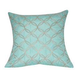 "Loom and Mill - Loom and Mill P0164-2121P 21"" x 21"" Seafoam Circles Decorative Pillow - Elegant and cozy. This embroidered decorative pillow is not only beautiful to look at but well-constructed and plush.   Spot clean only."