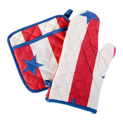 Sin in Linen - Stars and Stripes Oven Mitt and Potholder - Let the patriotic colors of freedom ring! This vintage looking star studded print is reminiscent of summers past