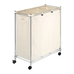 None - Whitmor Supreme Canvas/ Steel 3-compartment Laundry Sorter - Keep everyone's laundry separate and sorted in this durable laundry sorter by Whitmor Supreme. It features three compartments that allow you to pre-sort your clothes before you wash,and it has a steel wire basket for added durability.