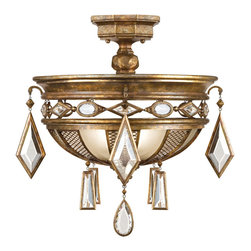 Fine Art Lamps - Encased Clear Crystal Gems Semi-Flush Mount, 711440-3ST - Crown the ceiling of your favorite formal setting with this semi-flush mount. Pearly gems and a rich bronze patina combine for a look that's stately yet sparkling.