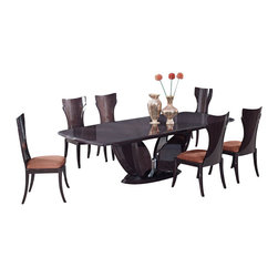 Global Furniture USA - D52-WENGE + D52DC Wenge Veneer Finish Five Piece Dining Set - The D52 Dining Set has the elegance and aesthetics of the Art Deco style that works well in any decor. The high gloss varnish, smooth curves, and surfaces add perfection to the rich wood character. The table comes in a stunning dark brown wenge finish. The chairs come in a matching finish and are upholstered in a matching brown fabric. This table is the perfect addition for any modern dining room space. The dining set shown includes the dining table and six chairs only.