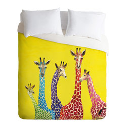 DENY Designs - DENY Designs Clara Nilles Jellybean Giraffes Duvet Cover - Lightweight - Turn your basic, boring down comforter into the super stylish focal point of your bedroom. Our Lightweight Duvet is made from an ultra soft, lightweight woven polyester, ivory-colored top with a 100% polyester, ivory-colored bottom. They include a hidden zipper with interior corner ties to secure your comforter. It is comfy, fade-resistant, machine washable and custom printed for each and every customer. If you're looking for a heavier duvet option, be sure to check out our Luxe Duvets!