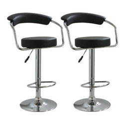 New Buffalo Corp. - Amerihome 2-Piece Adjustable Height Bar Stool Set - This Amerihome 2-Piece Adjustable height Bar Stool Set includes two retro style, Adjustable height Black vinyl bar stools. This 2-piece bar stool set is reminiscent of the days of diners and drive-ins, and features a polished chrome base and a Black vinyl seat and back rest for a hint of vintage retro style.
