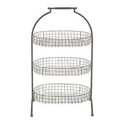 Attractive Styled Metal Basket 3-Tier Tray - Description: