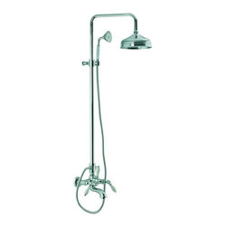 Nameeks - Fima Frattini by Nameeks S5404/2 Tub/Shower Faucet with Hand Shower - S5404/2BR - Shop for Bathroom from Hayneedle.com! The Fima Frattini by Nameeks S5404/2 Tub/Shower Faucet with Hand Shower provides you with an elegant overhead shower-spray a hand-held sprayer and a tub-filler spout. Two lever handles provide accurate water temperature and volume control while a third lever handle serves as a diverter. The vertical slide bar comes with a mounting bracket for the hand-shower allowing you to adjust the height and angle. Each piece is made from solid brass and features white porcelain grips on the handles. A handsome protective finish is available in your choice of satin nickel brass polished chrome gold or rustic. Product Specifications: ADA Compliant: No Country of Origin: Italy Drain Assembly Included: No Mounting Style: Wall Mount Hose length: 60 inches Number of Handles: 2 Handle Style: Lever Showerhead Width: 8 inches Overall Height: 41.33 inches Spout Reach: 11.81 inches Spray Pattern: Dual-function Valve Included: No About NameeksFounded with the simple belief that the bath is the defining room of a household Nameeks strives to design a bath that shines with unique and creative qualities. Distributing only the finest European bathroom fixtures Nameeks is a leading designer developer and marketer of innovative home products. In cooperation with top European manufacturers their choice of designs has become extremely diversified. Their experience in the plumbing industry spans 30 years and is now distributing their products throughout the world today. Dedicated to providing new trends and innovative bathroom products they offer their customers with long-term value in every product they purchase. In search of excellence Nameeks will always be interested in two things: the quality of each product and the service provided to each customer.