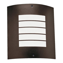 "Kichler - Arts and Crafts - Mission Kichler Newport 10 1/4"" High Bronze Outdoor Wall Light - The simple design of this ultra-modern small architectural bronze outdoor wall light is inspired by minimalist louvered exterior fixtures often seen on a step or along the base of a house. The single bulb is diffused with a panel of pure white acrylic that creates an inviting glow and enhances the contemporary look. UL-rated for wet locations. A beautiful home accent from Kichler lighting. Small contemporary outdoor wall sconce. Architectural bronze finish. Metal frame and wall plate. White acrylic diffuser. Takes one maximum 30 watt CFL bulb or equivalent (not included). UL-rated for wet locations. 10 1/4"" high. 9 1/4"" wide. Extends 3 3/4"". Back plate is 4 1/4"" wide and 7 3/4"" high.   Small contemporary outdoor wall sconce.  Architectural bronze finish.  Metal frame and wall plate.  White acrylic diffuser.  Takes one maximum 30 watt CFL bulb or equivalent (not included).  UL-rated for wet locations.  10 1/4"" high.  9 1/4"" wide.  Extends 3 3/4"".  Back plate is 4 1/4"" wide and 7 3/4"" high."
