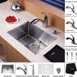 Kraus - 23 in. Single Bowl Kitchen Sink and Faucet with Soap Dispenser - Add an elegant touch to your kitchen with unique Kraus kitchen combo