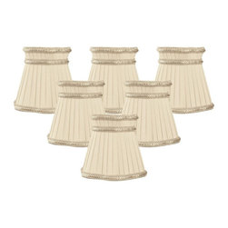 """Royal Designs, Inc"" - Decorative Trim Top Gallery Empire Beige Chandelier Lampshade - ""This shade is a part of Royal Designs, Inc. Timeless Chandelier Shade Collection and is perfect for anyone who is looking for a simple yet stunning lampshade. Royal Designs has been in the lampshade business since 1993 with their multiple shade lines that exemplify handcrafted quality and value."
