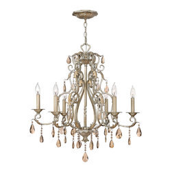 Hinkley Lighting - Carlton 6-Light Chandelier - The Carlton collection comes complete with ornate detailing, delicate spun bobeches and amber pearl crystals. Silver Leaf finish. 60 in. of chain and 72 in. of leadwire are included for installation. 7 in. diameter canopy.