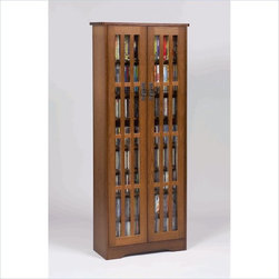 Leslie Dame - Leslie Dame 62 Inch Tall CD/DVD Media Storage Cabinet in Walnut - Leslie Dame - CD & DVD Media Storage - M477W - The Walnut Tall Media Storage Cabinet has plenty of room and style to meet all of your requirements when displaying and storing your music or movie collection. Reminiscent of the traditional Arts and Crafts movement, this DVD cabinet features classic design elements including an overhang top, bracket feet and slat door fronts that create a distinctive window pane look.