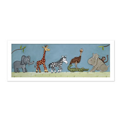 """Doodlefish - Safari Parade in White Frame - This artwork is a mounted Giclee of safari animals on parade in your choice of frames or you can choose the art as a stretched canvas. The artwork is 36"""" x 12"""" as a stretched canvas.  With the frame, the finished size is approximately 40"""" x 14""""."""