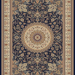 "Concord Global - Concord Global Williamsburg Tabriz Navy Traditional Medallion 5'3"" x 7'3"" Rug (7 - Williamsburg Collection is a 1.5 million point quality. This assortment consists of gorgeous oriental replicas with intricate motifs and designs dating back to 18th century. Many of you asked for higher quality traditional look in a navy color, we added navy along with black. They look just like high end hand made rugs with exceptional details. 100% olefin, machine made in Turkey."
