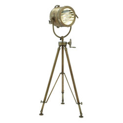 Benzara - Tripod Spot Light Adjustable Lamp with Handle - This tripod spotlight produces optimal lighting effect. The spotlight can be manipulated to produce the desired level of lighting and focus. The whole tripod spotlight unit is made of high quality metal that provides optimal efficiency and endurance to last for many years to come. The bulb is encompassed inside is the source of a bright lighting effect in any type of setting. With the efficient lamp shade and protective glass covering, this spotlight can be safely and easily handled for your shooting needs. The tripod stand comes with flexible adjustments that are designed to accomplish the desired height for the specific setting and lighting effect. The curved flexible metal holder deftly balances the spotlight and is fastened securely.