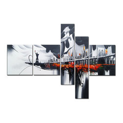 """Fabuart - New York Art Painting """"Glowing City"""" - Multi Panels Cityscape painting 63 x 33in - Make a statement with this New York cityscape painting. The vibrant red colors give a glowing and fierce edge to city that will be sure to arouse conversation between you and your visitors."""