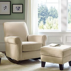Charleston Upholstered Convertible Rocker - This smooth upholstered rocker (with ottoman sold separately) will add a simple and soft touch to a nursery. An essential for comfortable rocking and cuddling, this can look good in any room for years to come. I love its sleek design.