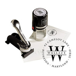 Ballard Designs - Custom Stamp -Wallace - This totally customizable stamp makes a wonderful gift and adds a personal touch to notes, letters and packages. The personalized design produces thousands of impressions.Stamp includes one black ink cartridge. Additional colors of stamp ink cartridges are available for purchase below.Click here to see Frances alphabet.You'll provide the information required to personalize it on the next page.* Please note that personalized items are non-returnable.Tips: * Generally the last name is the center initial. * Formatting is only as shown. The text on the outside edge will only be printed using capital letters. (as shown)* Use abbreviations for states and streets to maximize character usage. * Separate your text with dashes or dots. If you don't specify, it will be made like the sample design you choose. To specify, please – separate – your words – with dashes or dots.