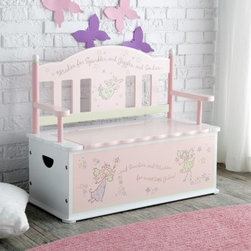 "Levels of Discovery Fairy Wishes Bench Seat with Storage - Add valuable storage and seating to your little girl's room with the Levels of Discovery Fairy Wishes Bench Seat with Storage which features beautiful details for added delicate style. Made from sturdy wood this convenient seat/toy box combination uses a slow-closing metal safety hinge to prevent pinched fingers. A scalloped pink back tops the light blue storage base which includes plenty of space for books toys or clothes and room for two to sit on top. Whimsical wish-granting fairies adorn the back and base front along with a special message. This useful storage bench is sure to become an instant family favorite. Message inscription reads: """"Wishes for Sparkles and Giggles and Smiles...and Swirlies and Whirlies for Sweet Little Girlies!"""" Recommended ages 3-7 years. Dimensions: 31L X 13.5W x 26.5H inches. Seat height 11.5 inches. About Levels of DiscoveryAfter spending years as a product developer and president for companies like Enesco the Franklin Mint and Hallmark Jeff Hutsell decided to devote himself to creating innovative unique and fun furnishings made especially for children. The resulting company Levels of Discovery now strives to design pieces that are more than simply pieces of heirloom-quality furniture. Each piece features unexpected details that will surprise and delight children and parents alike. Playful themes and hidden features like music boxes picture frames or time-out timers elevate rocking chairs benches tables and other pieces into treasured works of art that will define your youngster's childhood. All these extras combine to create beautiful hand painted masterpieces that are sure to become instant family treasures."
