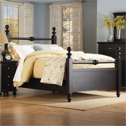 Homelegance Hanna Black Queen Size Panel Poster Bed - This great cottage style bedroom called Hanna will make any room sparkle and shine. The black finish is just right to decorate with colored quilts or throws.
