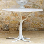 Global Views White Faux Bois Dining Table - I love this dining table! The natural form of the tree trunk is just stunning. It could also be used as an entry hall table.