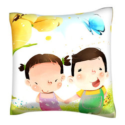 Custom Photo Factory - Portrait of Boy and Girl.   Polyester Velour Throw  Pillow - Portrait of Boy and Girl.  18 Inches x 18 Inches Pillow. Made in Los Angeles, CA, Set includes: One (1) pillow. Pattern: Full color dye sublimation art print. Cover closure: Concealed zipper. Cover materials: 100-percent polyester velour. Fill materials: Non-allergenic 100-percent polyester. Pillow shape: Square. Dimensions: 18.45 inches wide x 18.45 inches long. Care instructions: Machine washable