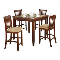 Adarn Inc - 5 PC Cherry Marble-like Inlaid Top Wood Dining Table Dining Chair Dining Set - Sophisticated and splendid, this marvelous dining table will be treasured in your dining room. It is made out of hardwood and veneers in a luxuriously rich cherry finish. The top of the table features a distinct marble-like inlaid table top. Have a joyous dining experience with a few friends using this amazing dining table.
